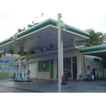 Στεγαστρα - Στέγαστρο βενζινάδικου διπλής οροφής με φωτισμό